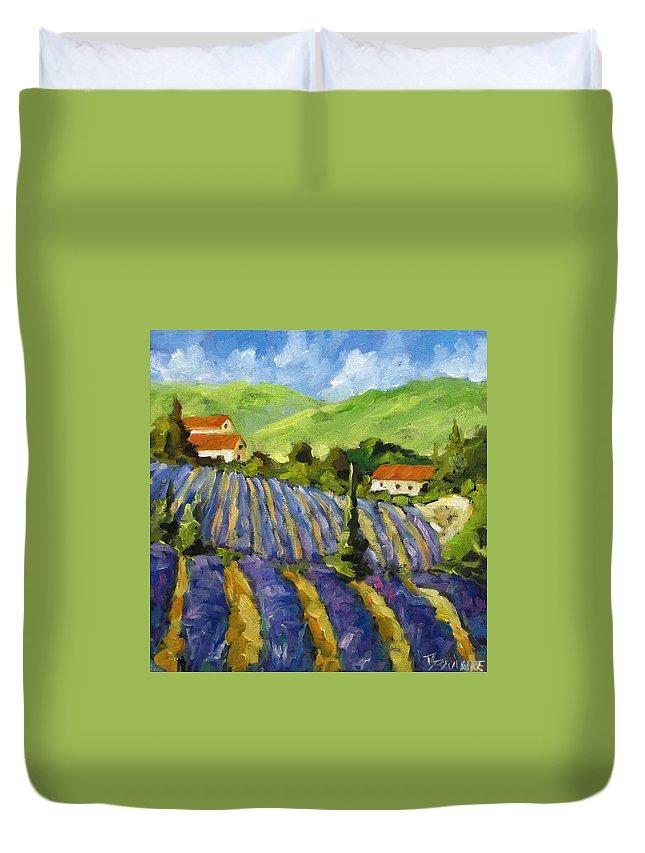 Art Duvet Cover featuring the painting Lavender Scene by Richard T Pranke