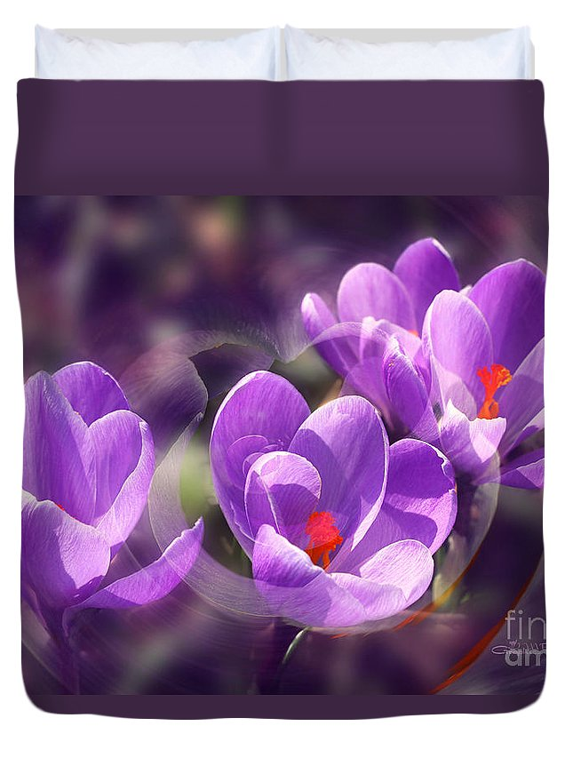 Lavender Duvet Cover featuring the photograph Lavender Spring by Jutta Maria Pusl