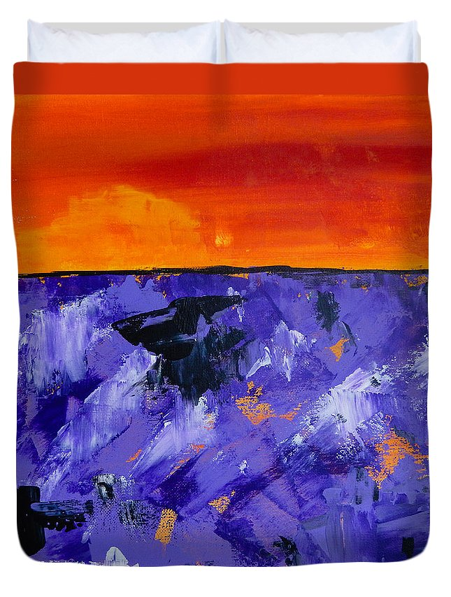 Lavender Duvet Cover featuring the painting Lavender Sunset Abstract Landscape by Eliza Donovan