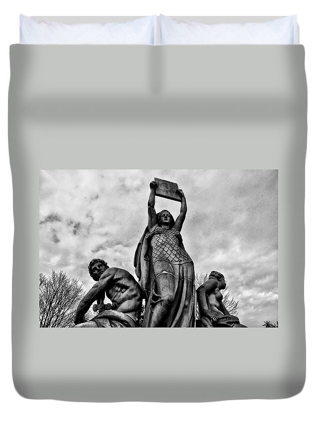 Philadelphia Duvet Cover featuring the photograph Law Prosperity And Power by Bill Cannon