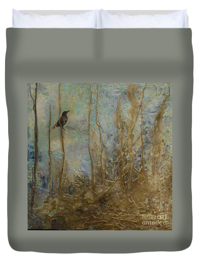 Bird Duvet Cover featuring the painting Lawbird by Heather Hennick
