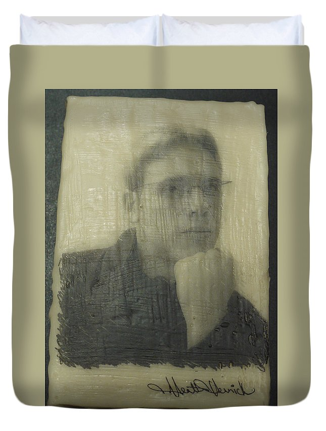 Encaustic Duvet Cover featuring the painting Lawson by Heather Hennick