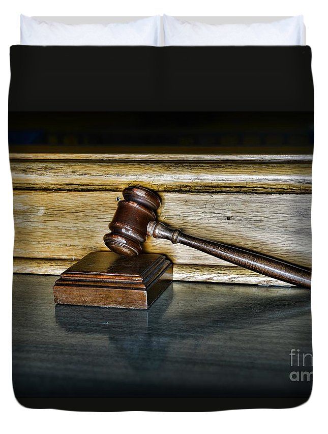 Paul Ward Duvet Cover featuring the photograph Lawyer - The Judge's Gavel by Paul Ward