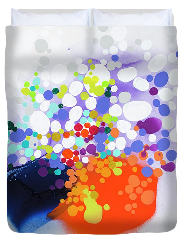 Abstract Duvet Cover featuring the painting Lay The Blame by Claire Desjardins