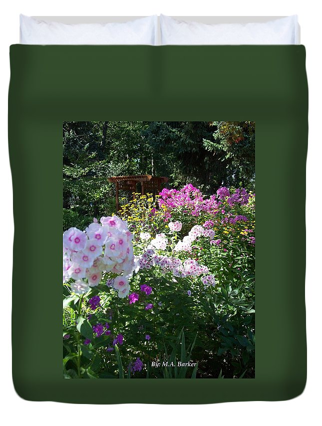 Florals Duvet Cover featuring the photograph Layered Florals by Mary ann Barker