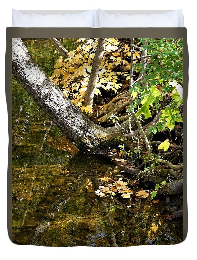 Spencer Gorge Ontario Reflection Autumn Leaves Yellow Duvet Cover featuring the photograph Layered Reflections by The Sangsters