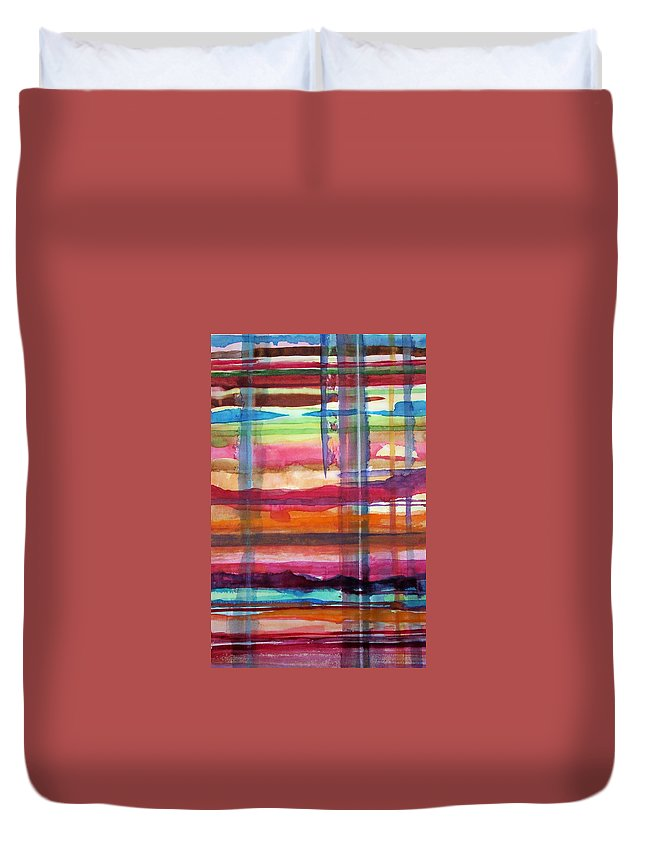 Abstract Duvet Cover featuring the painting Layered by Suzanne Udell Levinger