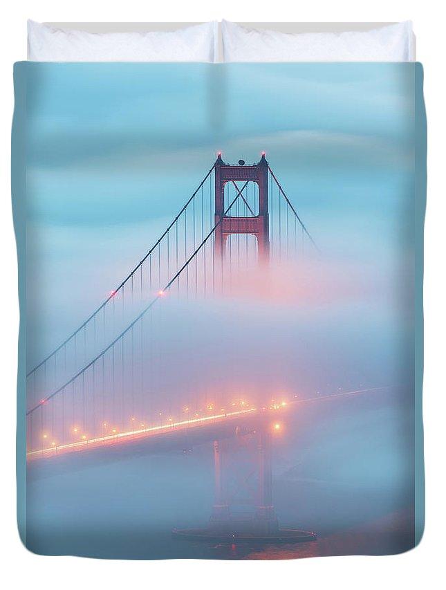 San Francisco Duvet Cover featuring the photograph Golden Glow by Dustin LeFevre