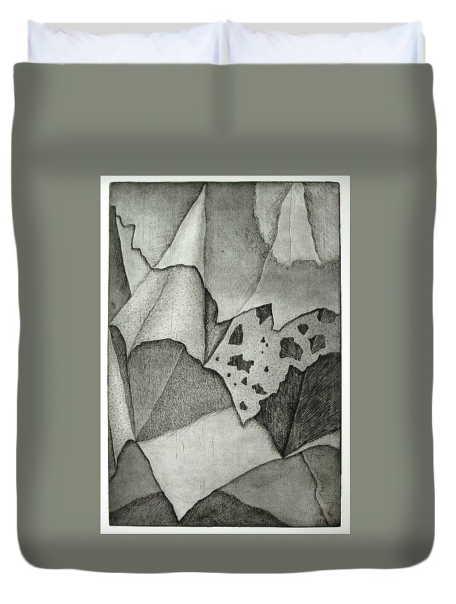 Etching Duvet Cover featuring the drawing Layers by Nancy Mueller