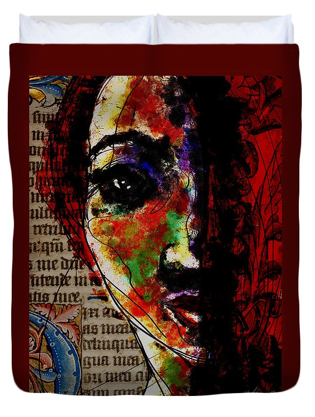 Portrait Duvet Cover featuring the digital art Layers Of Meaning by Michael Kallstrom