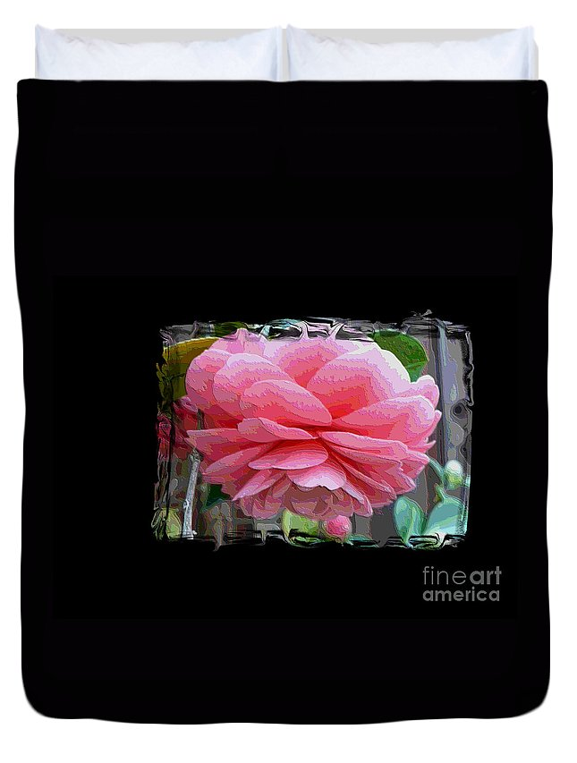 Pink Camellia Duvet Cover featuring the digital art Layers Of Pink Camellia Dream by Carol Groenen
