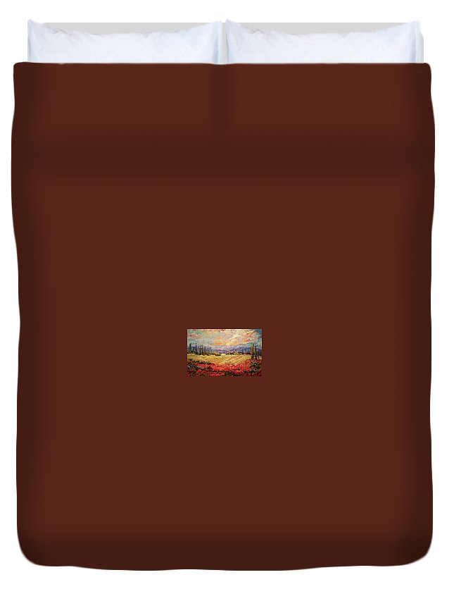 Italian Vineyards Duvet Cover featuring the painting Layers of Tuscany by Ginger Concepcion