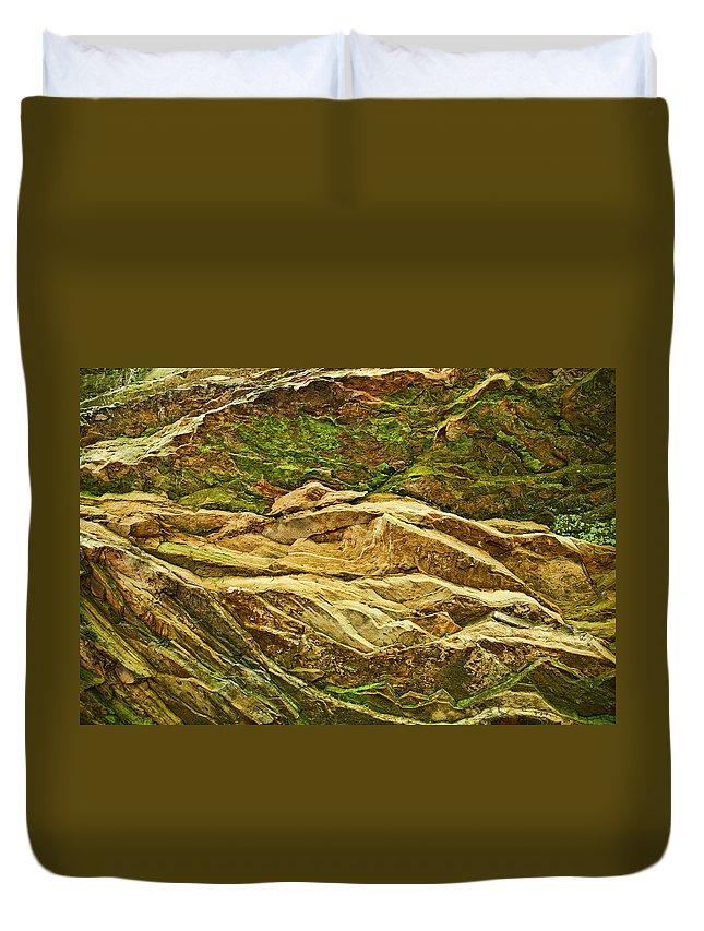 Rocks Layers Geology Moss Photography Photograph Art Digital Duvet Cover featuring the photograph Layers by Shari Jardina