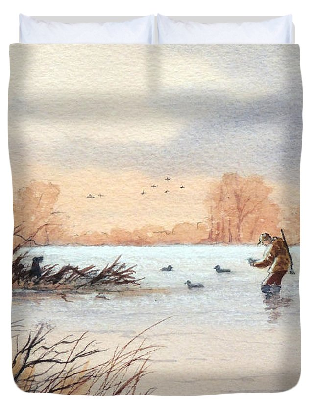 Duck Hunting Duvet Cover featuring the painting Laying Out The Decoys I by Bill Holkham