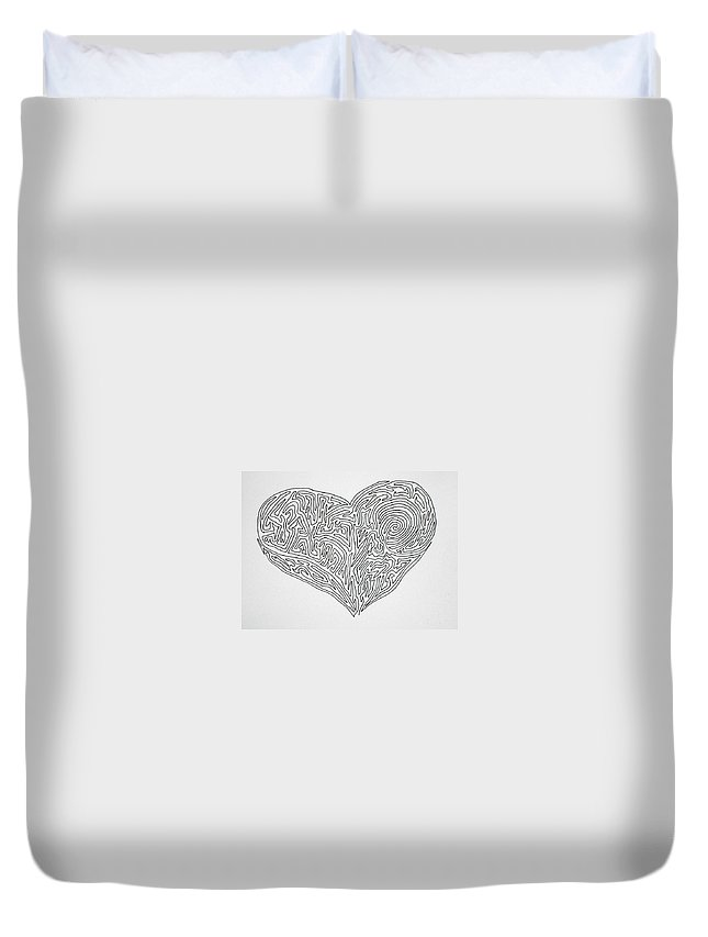 Heart Duvet Cover featuring the painting Laying Your Heart On A Line by Vicki Housel