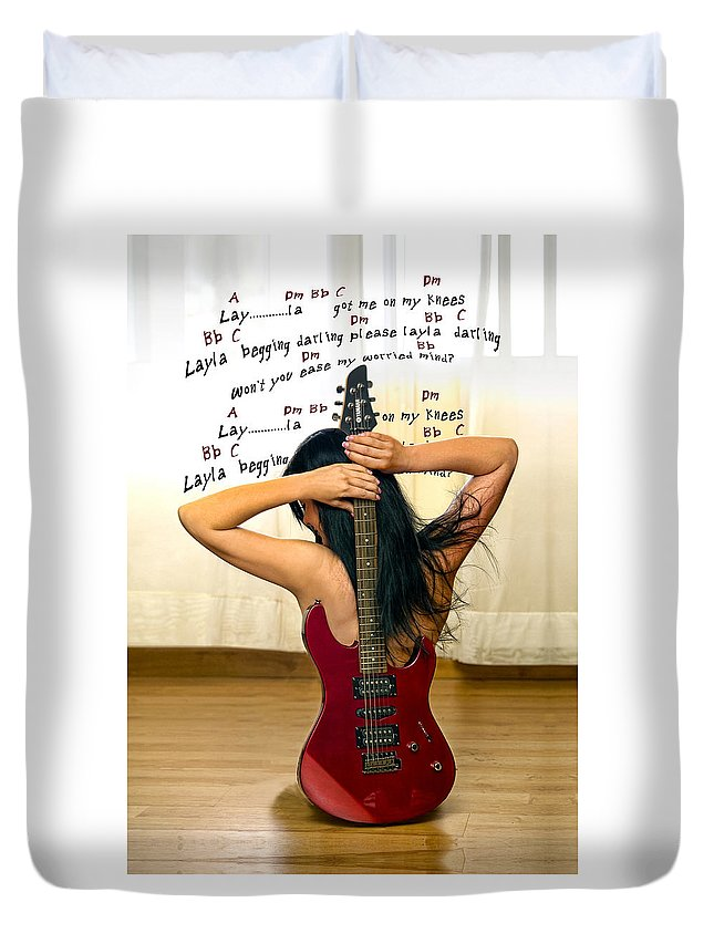 Electric Guitar Duvet Cover featuring the photograph Layla by Donovan Torres