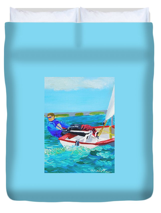 Sailboats Duvet Cover featuring the painting Lazer by Michael Lee