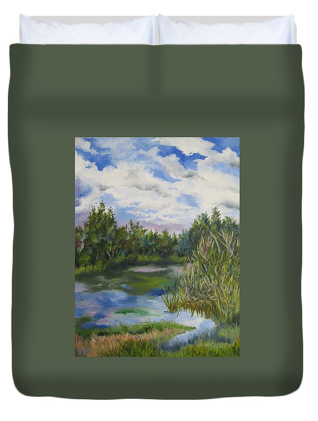 Landscape Duvet Cover featuring the painting Lazy Afternoon In The Park by Lisa Boyd