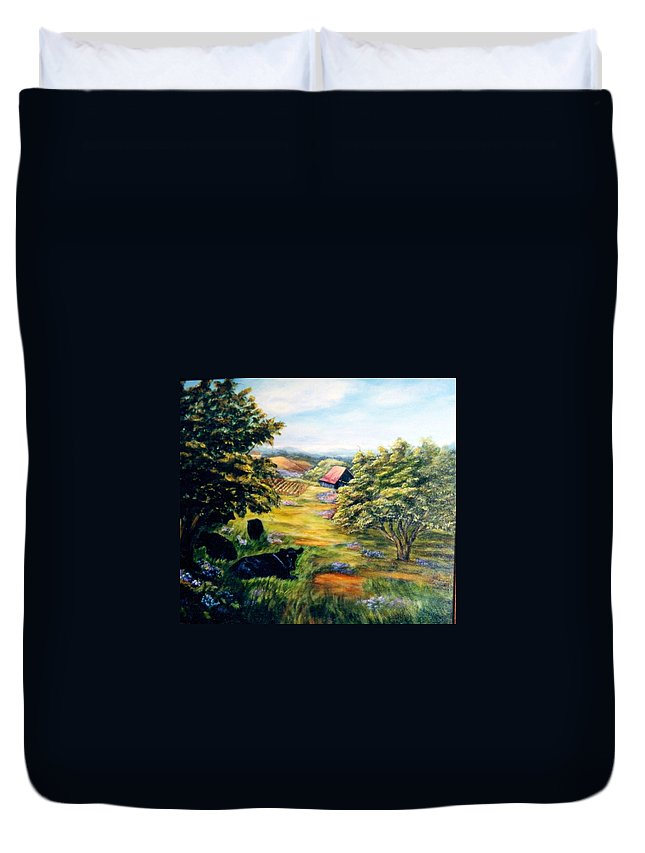 Cows Duvet Cover featuring the painting Lazy Day by Gail Kirtz