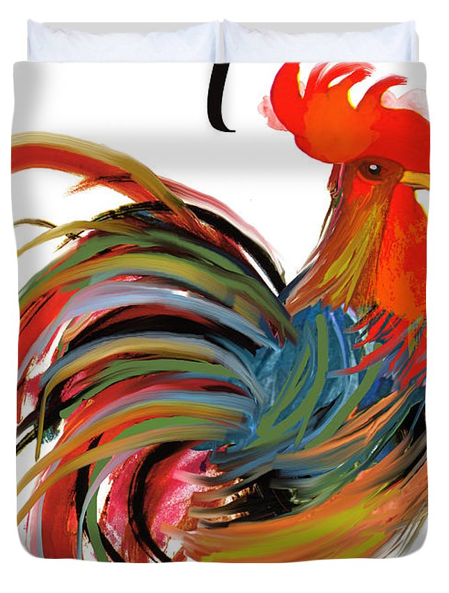 Rooster Duvet Cover featuring the painting Le Coq Art Nouveau Rooster by Mindy Sommers