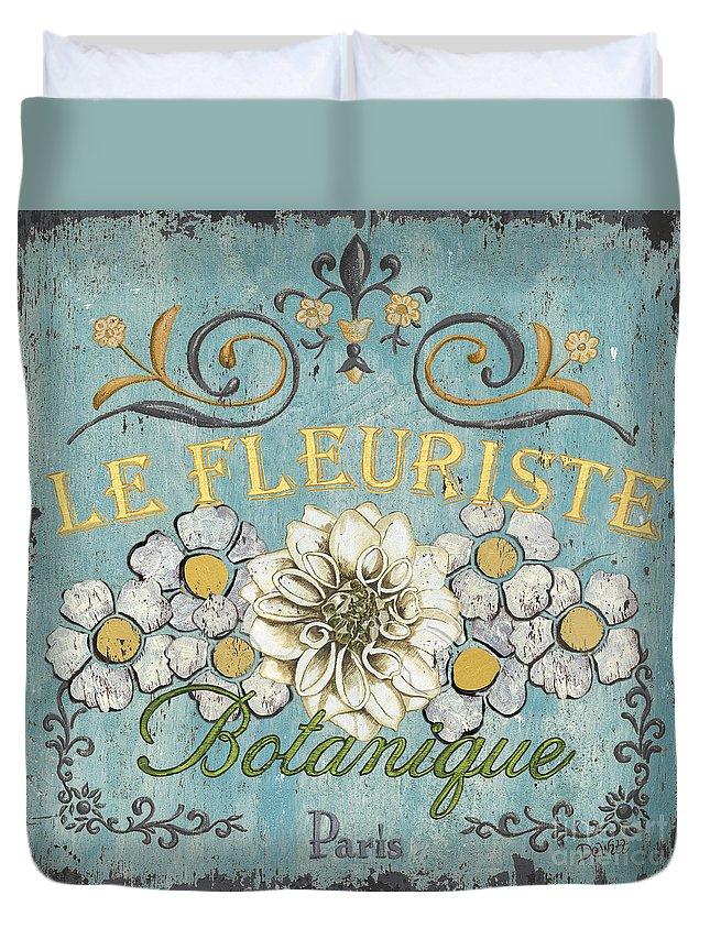 Flowers Duvet Cover featuring the painting Le Fleuriste de Botanique by Debbie DeWitt