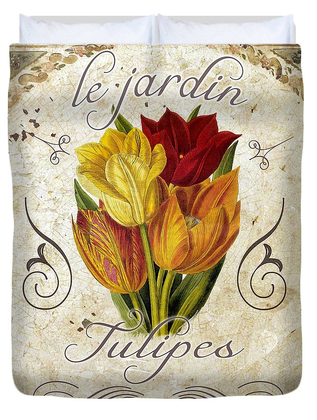 Tulips Duvet Cover featuring the painting Le Jardin Tulipes by Mindy Sommers