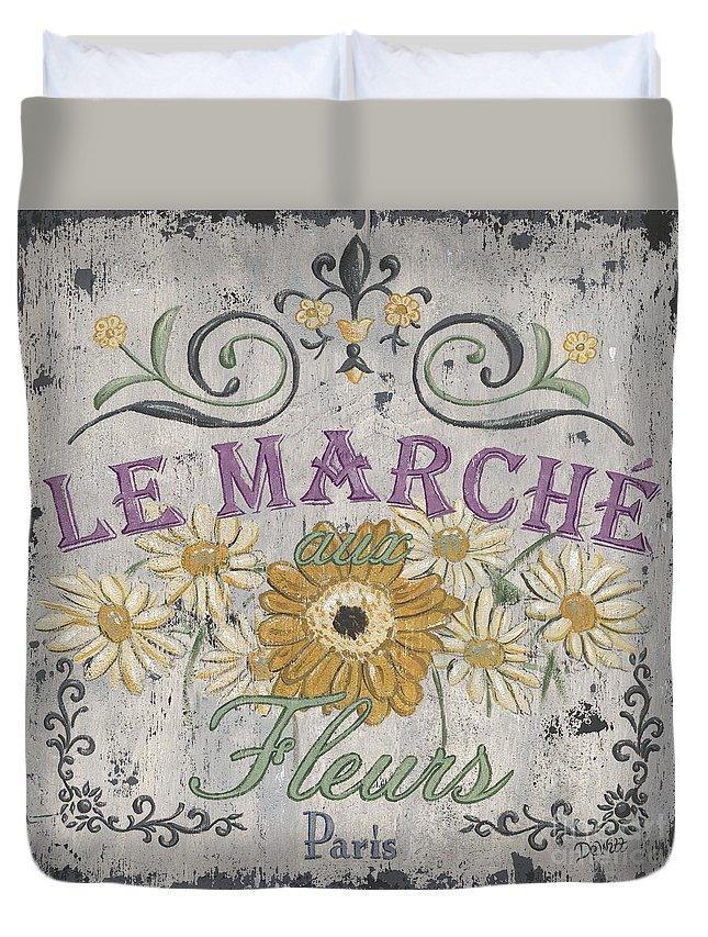 Le Marche Duvet Cover featuring the painting Le Marche Aux Fleurs 1 by Debbie DeWitt