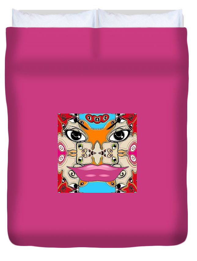 Mask Duvet Cover featuring the digital art Le Masque Maya by Michelle Sogalow