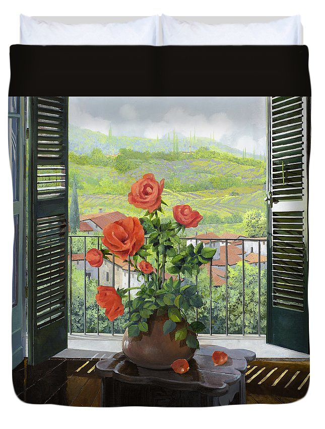 Landscape Duvet Cover featuring the painting Le Persiane Sulla Valle by Guido Borelli