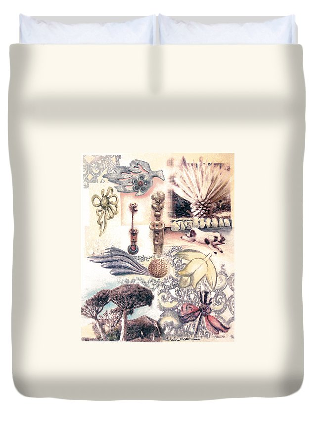 Abstract Duvet Cover featuring the painting Le Petite Pig Does Fly by Valerie Meotti