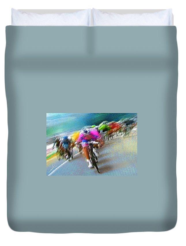 Sports Duvet Cover featuring the painting Le Tour De France 09 by Miki De Goodaboom