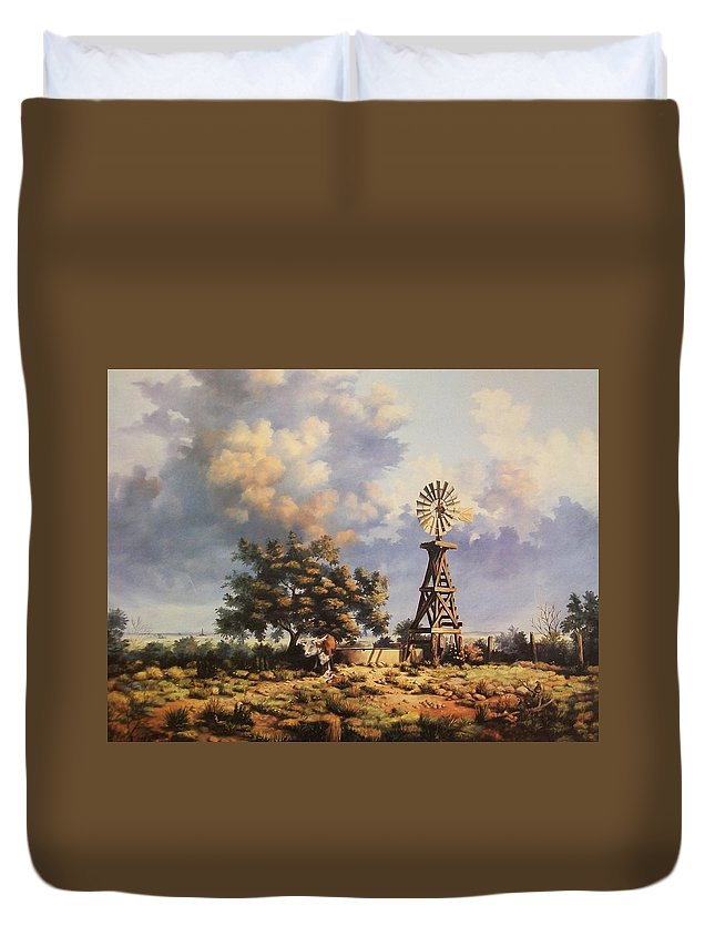 A New Mexico Landscape. Duvet Cover featuring the painting Lea County Memories by Wanda Dansereau