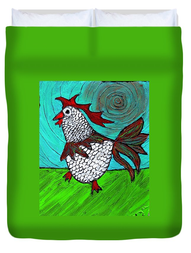 Rooster Duvet Cover featuring the painting Leader Of The Pack by Wayne Potrafka