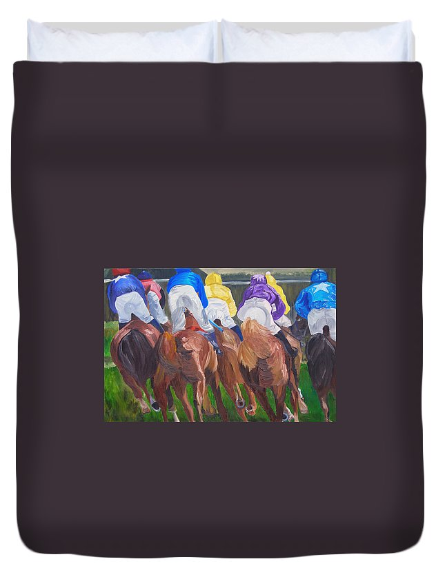 Horse Racing Duvet Cover featuring the painting Leading The Pack by Michael Lee