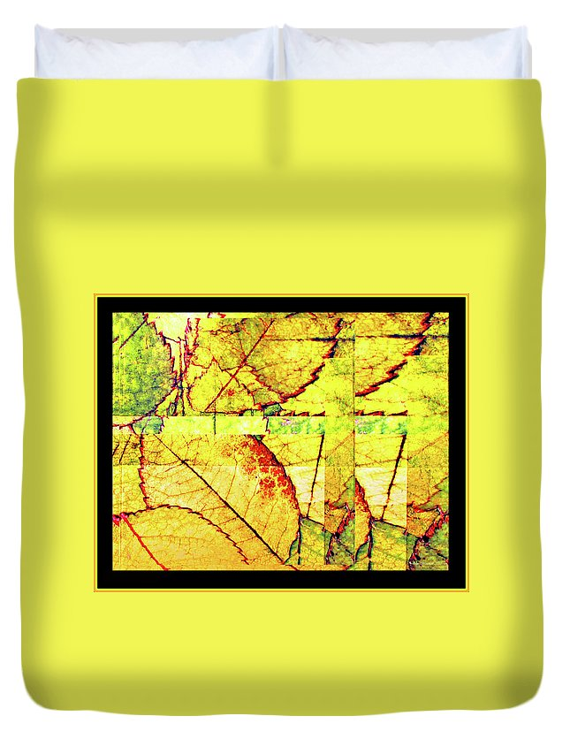 Autumn Duvet Cover featuring the digital art Leaf Abstract by Joan Minchak
