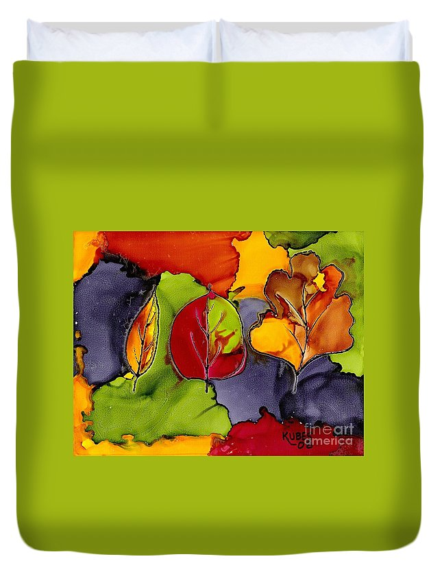 Leaf Duvet Cover featuring the painting Leaf Brilliance by Susan Kubes