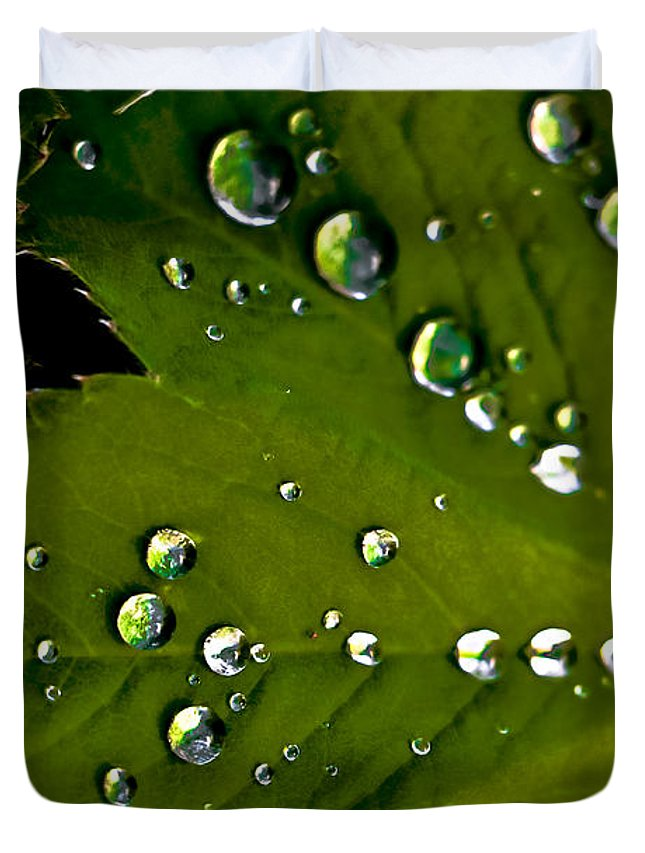 Leaf Duvet Cover featuring the photograph Leaf Covered In Raindrops by Amber D Hathaway Photography