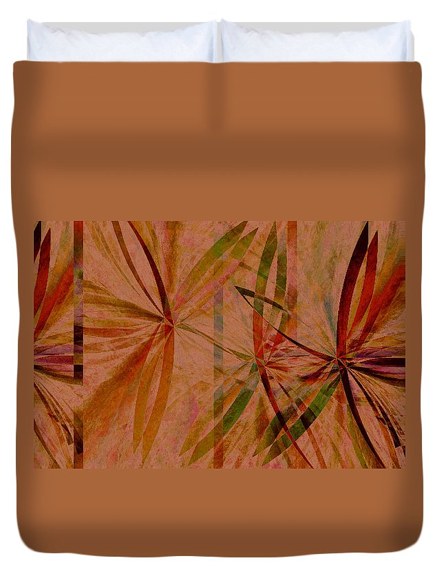 Abstract Duvet Cover featuring the digital art Leaf Dance by Ruth Palmer