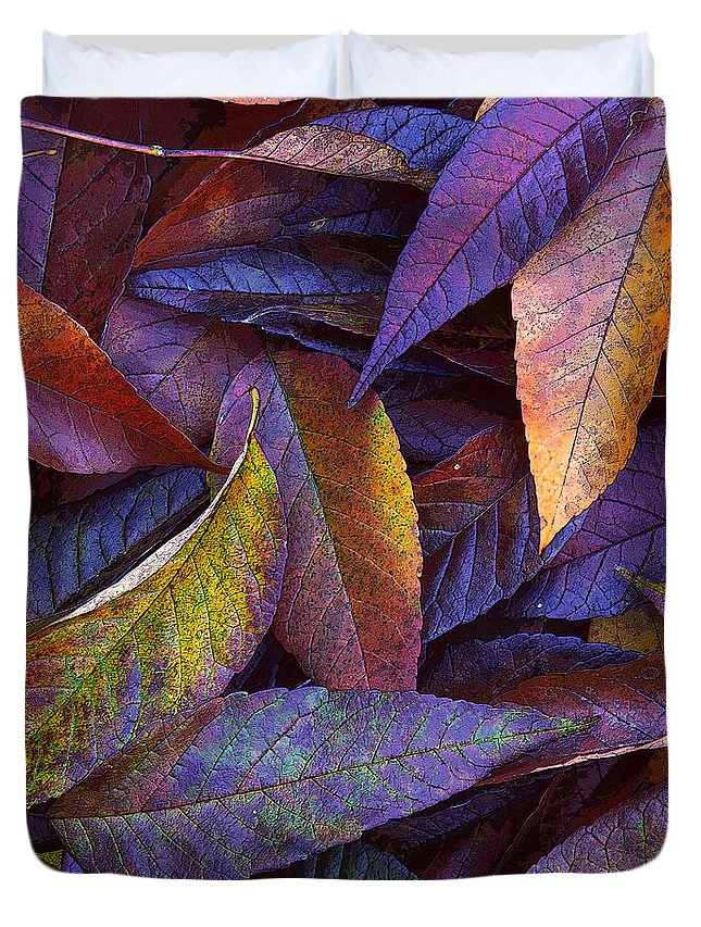Leaf Ink Duvet Cover featuring the photograph Leaf Ink Photo Designs by Steve Spatafore