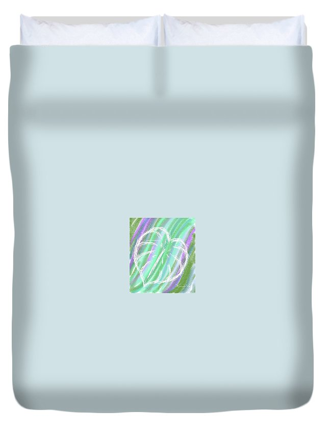 Leaf Duvet Cover featuring the painting Leaf by Kumiko Izumi