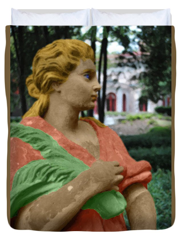 Statue Duvet Cover featuring the photograph Leaf Of The Garden by Jost Houk