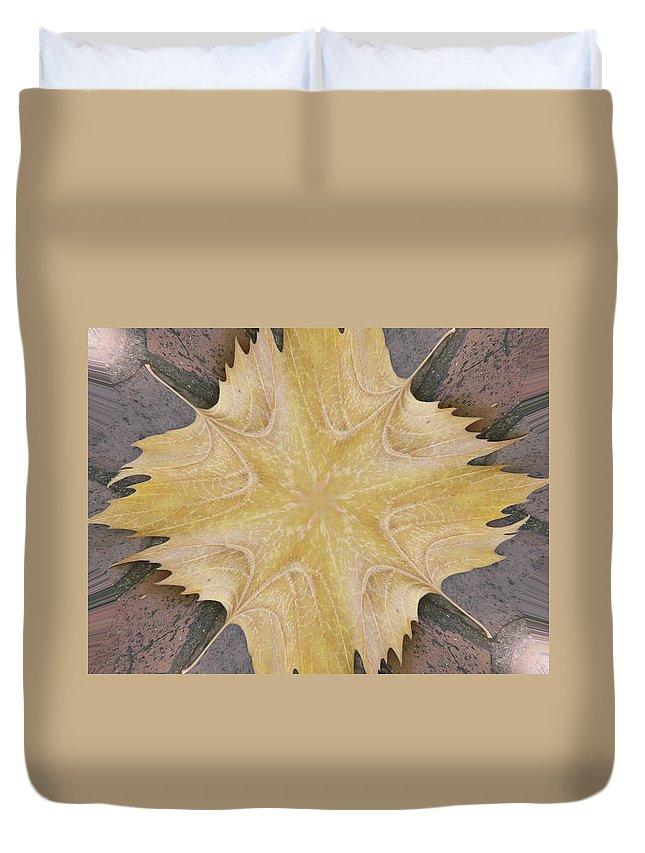 Leaf Duvet Cover featuring the photograph Leaf On Bricks 6 by Tim Allen