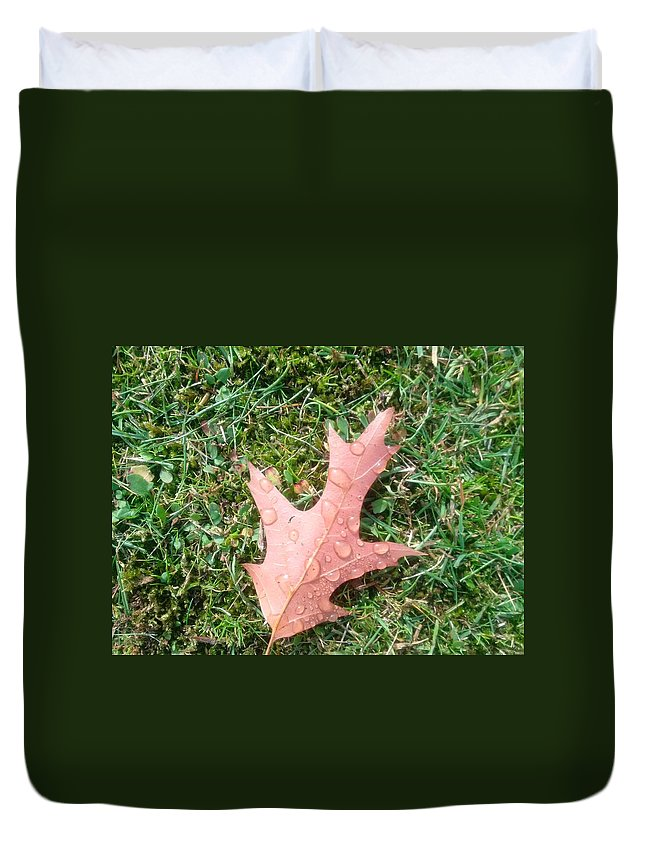 Leaf Duvet Cover featuring the photograph Leaf Resisting The Rain by Eibhlin Murphy