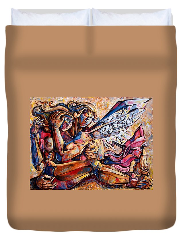 Surrealism Duvet Cover featuring the painting Lean On Me by Darwin Leon
