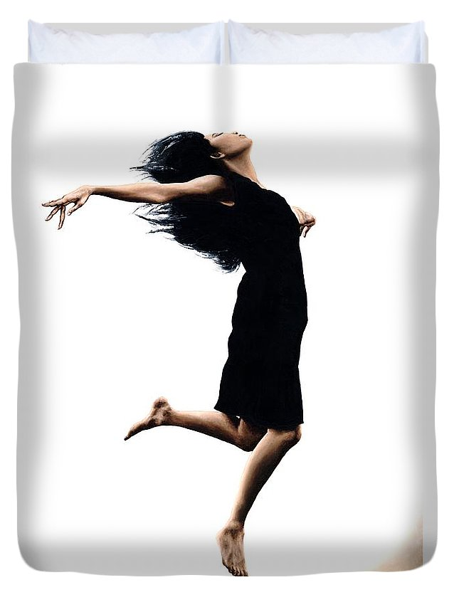 Ballet Duvet Cover featuring the painting Leap into the Unknown by Richard Young
