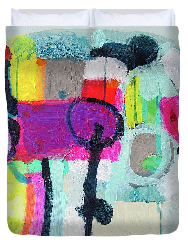 Abstract Duvet Cover featuring the painting Learner's Permit by Claire Desjardins