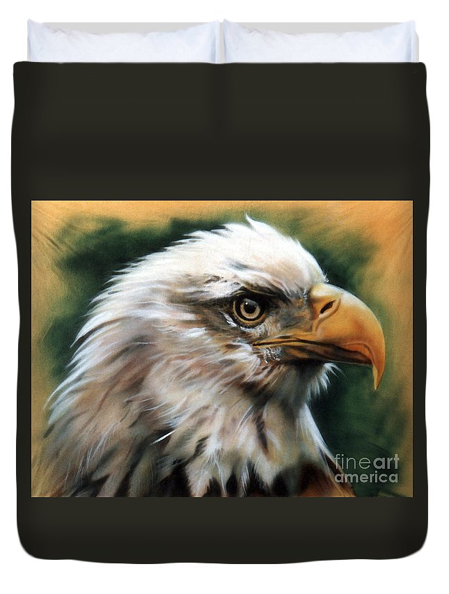 Southwest Art Duvet Cover featuring the painting Leather Eagle by J W Baker