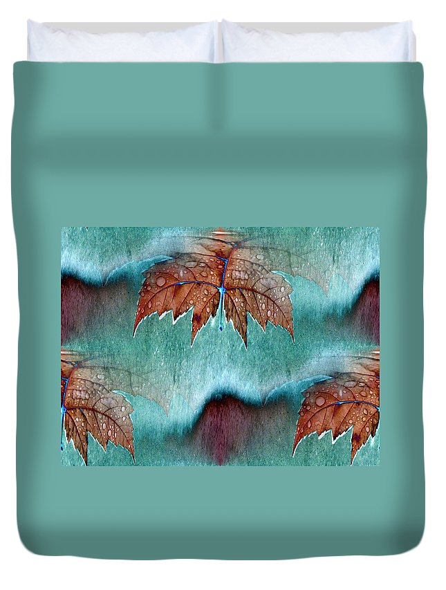 Leaves Duvet Cover featuring the photograph Leaves And Rain 6 by Tim Allen