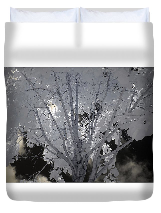 Infrared Duvet Cover featuring the photograph Leaves Hiding The Sun by Don Zawadiwsky