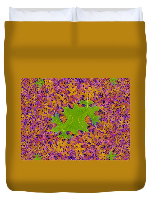 Leaves Duvet Cover featuring the photograph Leaves In Fractal 2 by Tim Allen